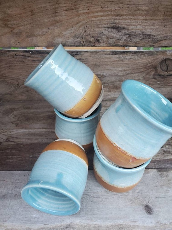 Pottery wine tumblers, tea,  cup, stemless goblets in blue and brown day at the beach holds 6 ounces stemless goblets wedding gift home deco
