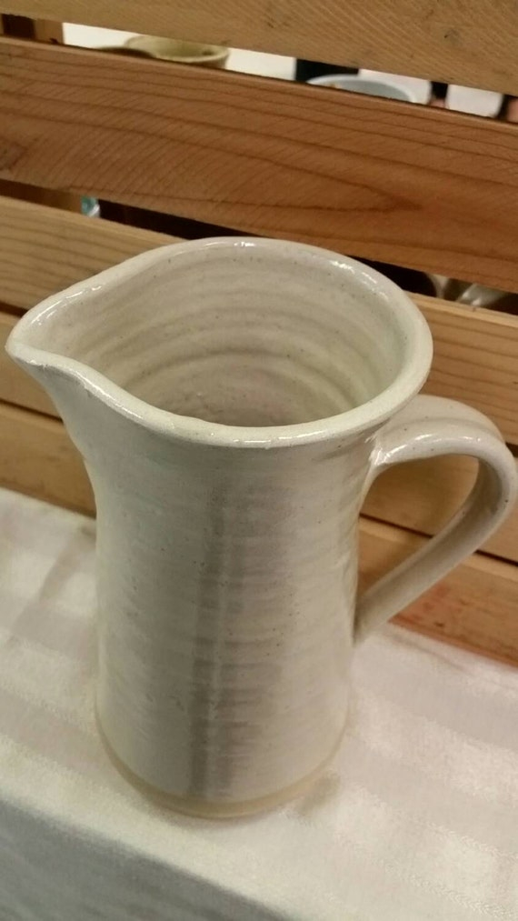 Pottery pitcher jug Clean modern country kitchen white 10 inches tall