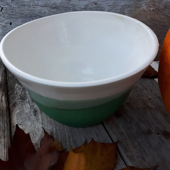 Pottery bowl green and white large fruit bowl salad bowl kitchen decor large  holds 4 cups