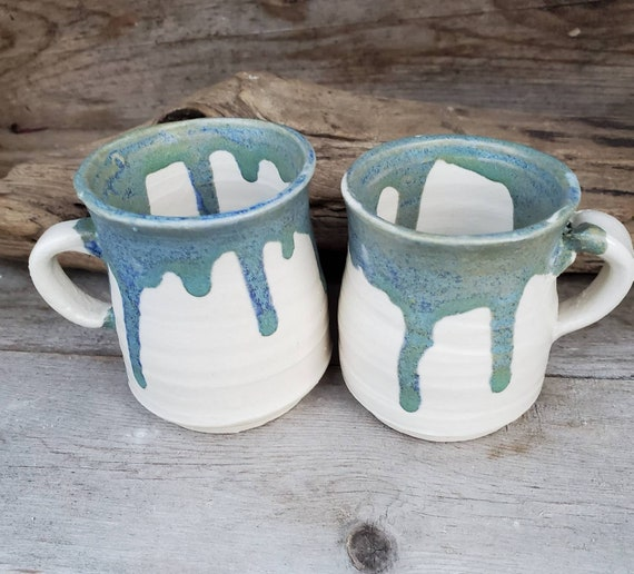 Pottery pair of mini handmade mugs in blue and white  modern handmade for coffee or tea home decor espresso his and hers wedding gift ooak