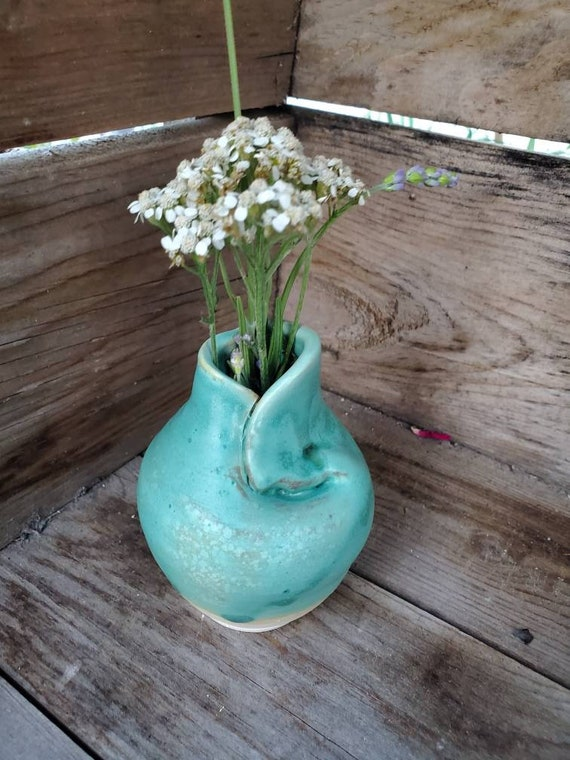 Pottery Vase turquoise azure 3 inches high bud vase home decor ocean inspired