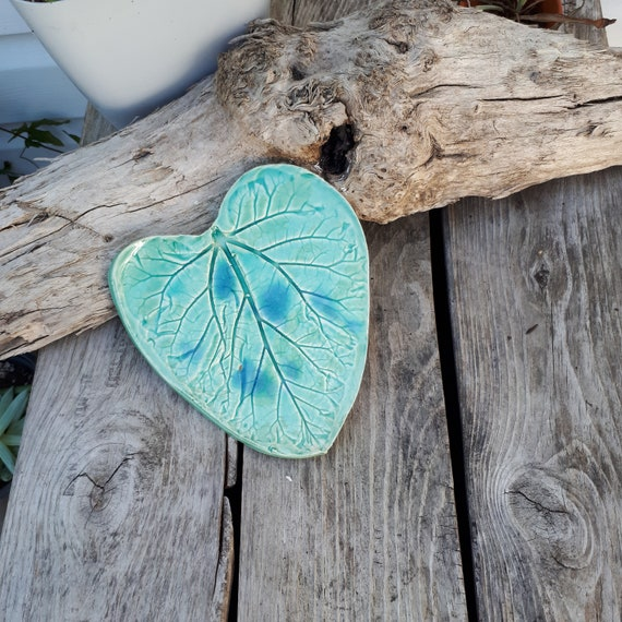 Pottery soap dish spoon rest in rhubarb leaf  turquoise azure 5 inches across  6 inches long for foodies home decor kitchen decor