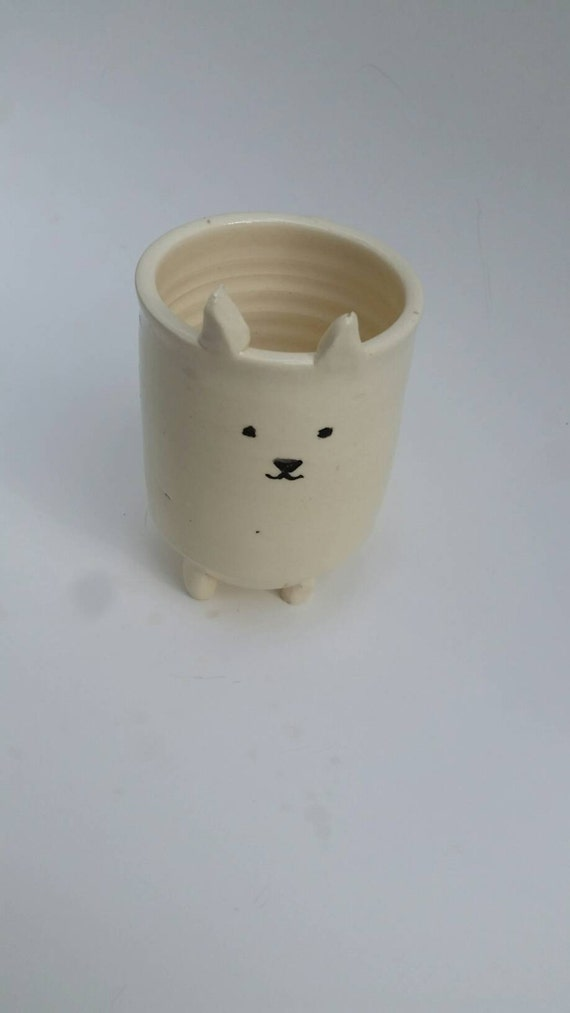 Pottery puppy dog catch all planter for Nancy 5 inches tall  boho perfect for airplants or succulents great gift under 25