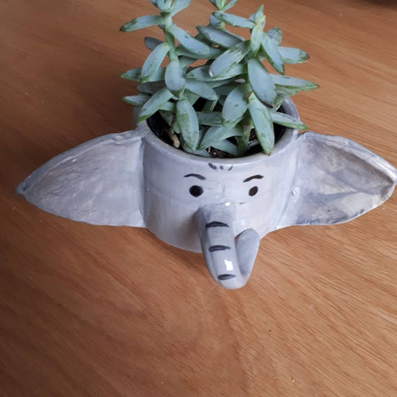 Pottery Elephant planter small bowl cup catch all  boho perfect for airplants or succulents ON SALE  gift