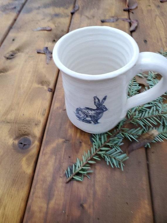 Pottery white mug rabbit design handmade home decor