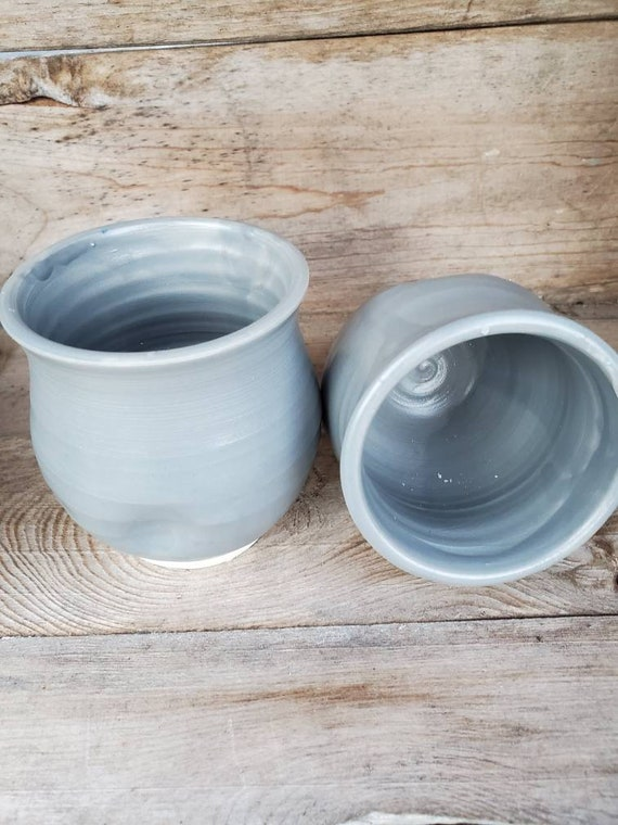 Pottery wine tumblers, tea,  cup, stemless goblets in steel grey home decor hold 6 ounces