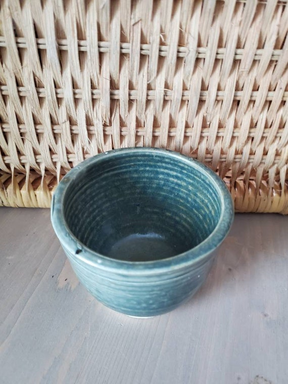 Pottery handmade  bowl cereal or soup or prep bowl 1cup agate stone blue dinnerware food safe home decor modern clean simple
