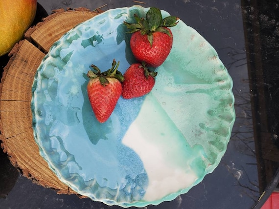 Pottery  Bowl handbuilt plate pie plate Spring feelon the water kitchen decor under 50 gift for her mothers day gift