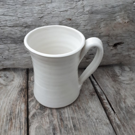 Pottery tall coffee mug holds 10 ounces in white modern clean neutral home decor ready to ship