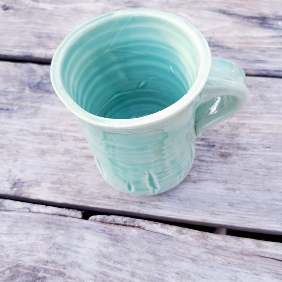 Pottery Coffee Mug in  Caribean green, turquoise, azure, holds 8 ounces, gift for her ON SALE