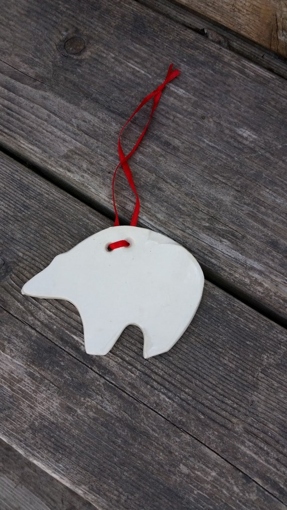 Polar Bear Ornament with red ribbon hanger in porcelain for trees or gifts, choice of ribbon color