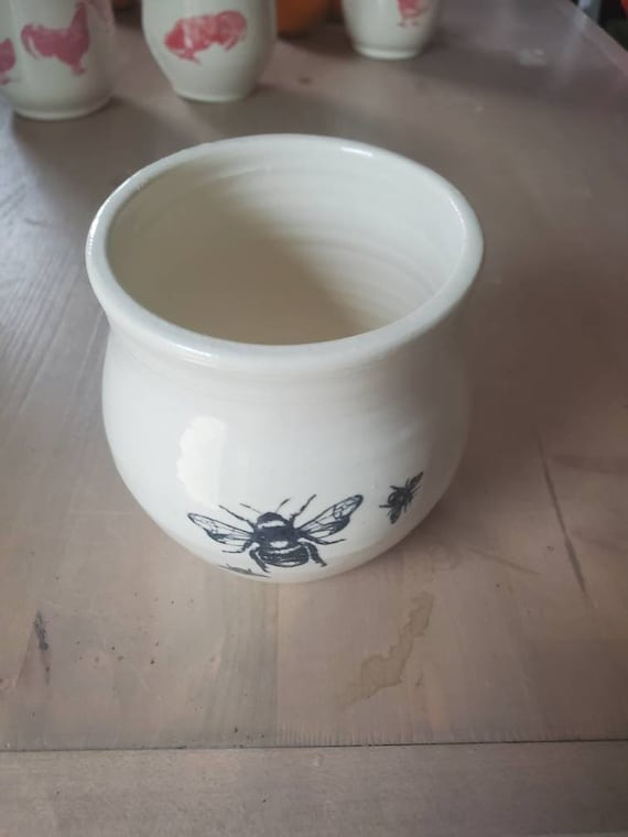 Pottery handmade bee motif wine tumblers, tea,  cup, stemless goblets in white home decor hold 6 ounces gift for dad wedding gift