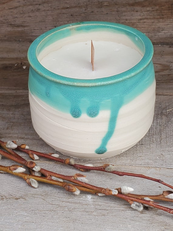 Pottery hand poured soy candle in reusable candle bowl in turquoise and white with wooden wick for crackle holds 8 ounces