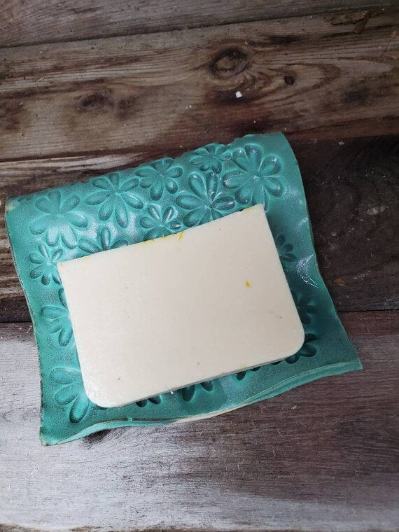 Pottery soap dish self draining  turquoise blue or green 4 inches across home decor