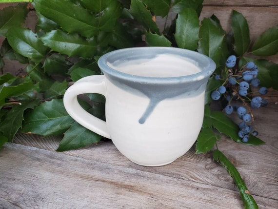Pottery handmade mug in white and grey drippy glazecoffee mug kitchen decor