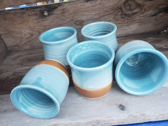 Pottery wine tumblers, tea,  cup, stemless goblets in blue and brown day at the beach holds 6 ounces stemless goblets