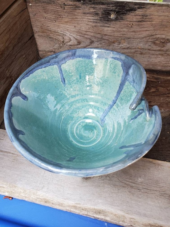 Pottery  Bowl frosted blue like a cold day on the water kitchen decor with altered rim food safe under 50 gift for her