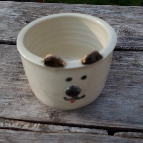 Pottery handmade puppy dog plant pot whimsy face  planter catch all  boho perfect for Easter airplants or succulents On Sale