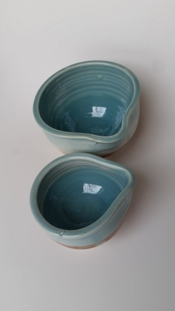 Pottery Prep bowls nesting pair kitchen decor  blue and gold kitchen decor like a day at the beach