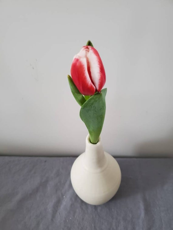 Pottery bud Vase in white clean modern  wedding gift ooak home decor accent valentines