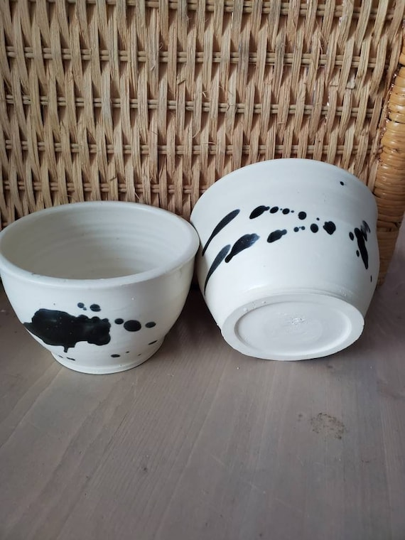 Pottery handmade pair of bowls in white and black squid ink 4 inches across for foodies home decor tableware ready to ship