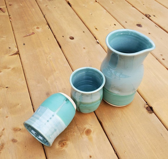 Pottery handmade blue and turquoise wine tumblers and wine carafe set valentines gift