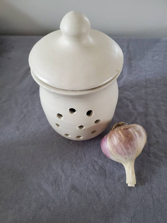 Pottery white garlic keeper jar in country kitchen white home decor gift for anyone foodie