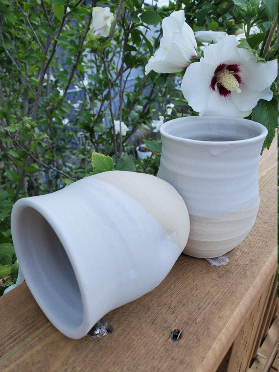 Pottery wine tumblers, tea,  cup, stemless goblets in white home decor hold 6 ounces on sale