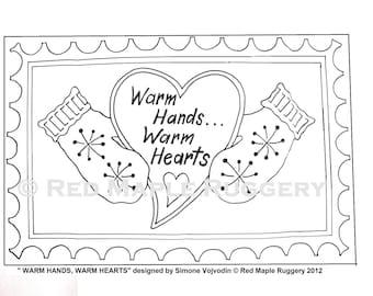 WARM Hands WARM Hearts, Punch Needle/ Rug Hooking Pattern