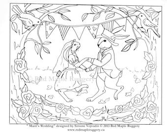 MAIRI'S WEDDING Rug Hooking Pattern on Linen