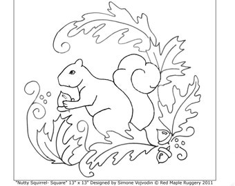 """Rug Hooking Pattern """"Nutty Squirrel- Square"""""""