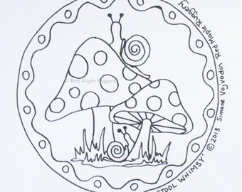 TOADSTOOL WHIMSY rug hooking/ punch needle pattern on Monks cloth