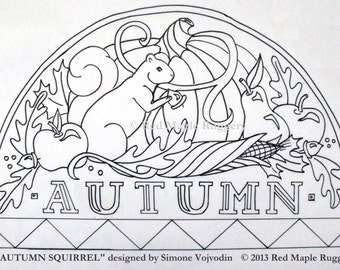 AUTUMN SQUIRREL  Rug Hooking / Punch Needle Pattern on Monks Cloth