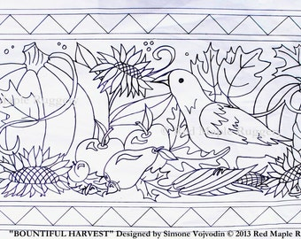 BOUNTIFUL HARVEST Rug Hooking Punch Needle Pattern on Monks Cloth