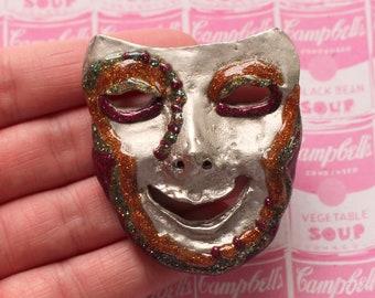 Vintage THEATER Pin Brooch.....opera. woman. retro. new old stock. drama. theater. clown. circus. weird. kitsch. glitter. gray. creepy. goth