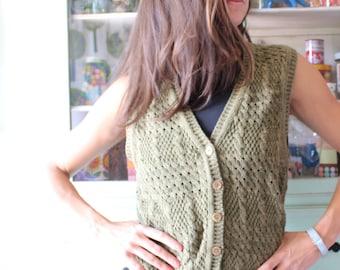 festival vestS. Vintage women/'s vest Merino EmporiumOlive-Gold Lurex vestknit merino wool vestfashion elegant vestevening vestparty