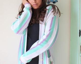Vintage Teal Purple Mid Century Cardigan.....medium. designer. knit. retro. mod. sweater. nautical. preppy. college. mod. striped. floral
