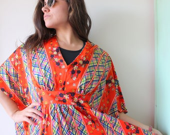 43bc6992d 1960s Vintage MOD KIMONO Frock Dress...size large xlarge womens....1960s  dress. floral. retro. sundress. mod. classic. sundress. free size