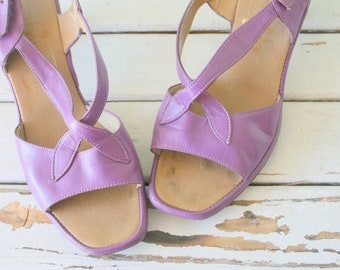 c94ef0d89c0 Vintage PURPLE Peep Toed Heels..size 6 us 36 euro heels..glam. wedding.  party. mod. classic. fancy. designer heels. 1960s glam. open backs