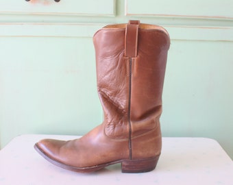 Vintage Roper cowboy black leather boots inside zipper handmade by Teck Chong Shoemaker size 7. Thailand