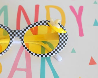 8f70205df7 The Kurt Cobain Banana Sunglasses....checkered. retro. colorful shades.  hipster. kitsch. shades. summer. costume. daisy. party. twiggy. mod