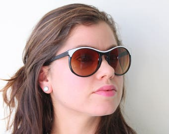 2febeeee157 Vintage BLACK and WHITE Mod Taiwan ROC Sunglasses.retro. colorful shades.  urban. hipster. nerd. shades. indie. chic. big. boho. deadstock.