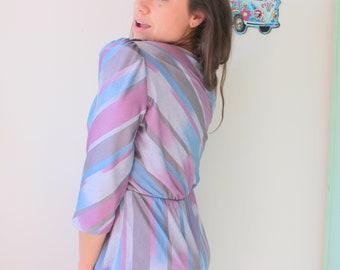 50d3f8fc8a 1980s POSH STRIPES Dress..medium. small. carnival. mod. striped. purple  dress. sundress. short sleeve. twirl. garden party. mad men. wiggle