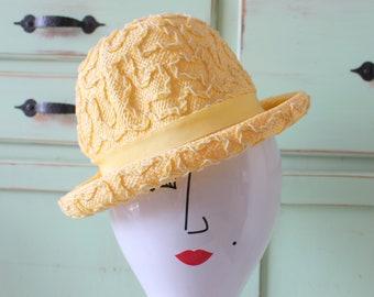 52f03fa6824a0d Vintage Yellow Straw Hat...church. summer. spring. wedding. bride. costume. 1950s  hat. 1960s hat. evelyn varon hat. designer. fancy. lemon