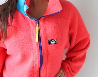 6a8cc5d314f9d7 1990s WOOLRICH Fleece Pullover Zip Up....size medium. unisex. saved by the  bell. retro. unisex. 1980s sweater. rad. neon. hipster. nautical