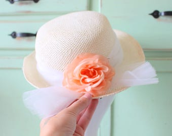 53fea1cc31ff2 Vintage Wedding Peach Flower Hat...straw hat. church. pink. summer. spring.  easter. wedding. bride. costume. 1980s. saved by the bell. tulle