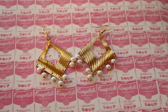 indie party aztec golden urban aztec 1980s GOLDEN GLAM Earrings.....oversized kitsch dangly 1980s metal glam earrings retro