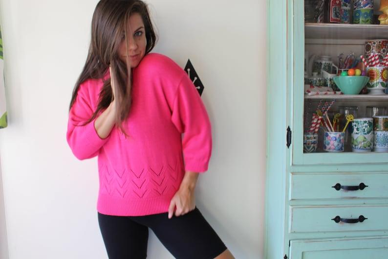 hippie knit boho cute Vintage HOT PINK Boho Designer Crop Sweater.small medium mod folk spring pretty in pink alison urban retro