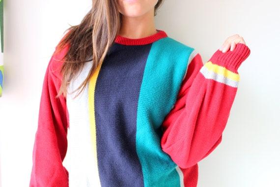 1980s RAINBOW Geometric Cardigan Sweater...small colorful 1970s bright medium 1980s sweater fun unisex rad striped retro rainbow