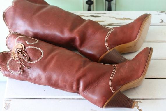 AMAZING 1980s LEATHER Western Cowgirl Boots...siz… - image 4